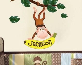 Custom Nursery Zoo Animal Wall Decal Jungle Sticker, Custom Name Zoo Animal Monkey Wall Monogram, Monkey Name Kids Room Wall Art Design, n22