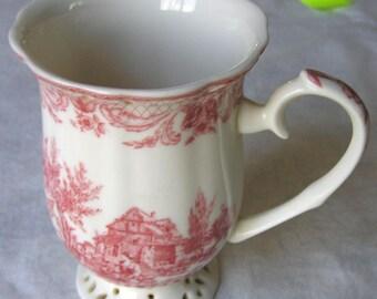 Red Transferware Porcelain Mug on a Reticulated Pedestal Base