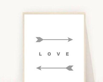 Arrow Wall Art, Love Print, Grey Arrow Print, Love Art, Two Feather Arrows, Modern Wall Art, Love Print, Digital Download