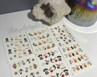 Halloween Nail Art Water Decals Bundles 3 sheets Pumpkin Ghost Spider Web Black cat Trick or Treat Witch