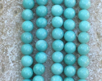 """Round Amazonite Beads - FULL 16"""" strand of Mint Green Amazonite Beads, 8mm Sea Foam Green smooth round beads - (about 49 beads) - G1036"""