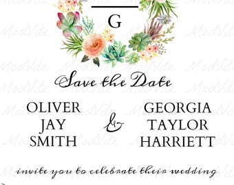 BOHO - Floral & Succulent Save The Date Printable