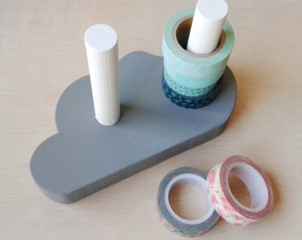 Organizer of washitapes   Washi dispenser   For 10 rolls   Vertical storage   Cloud