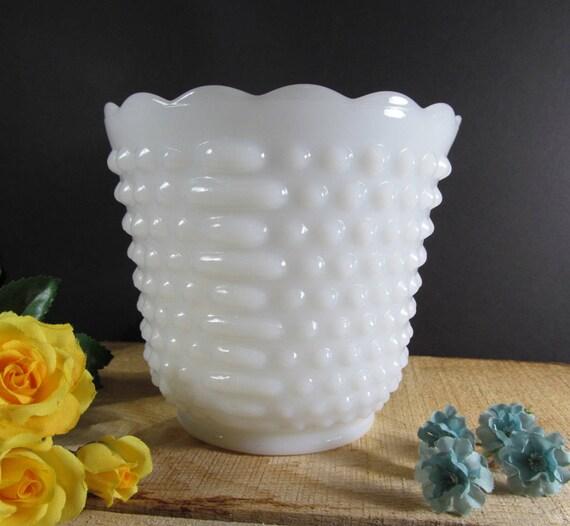 Milk Glass Floral Vase Hobnail And Bars Planter Anchor