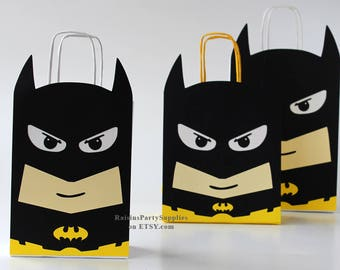 Batman party bags for boy girl Superhero birthday Batman favors - inspired Super hero birthday party supplies for super hero birthday party