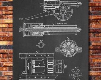 Gatling Gun Patent Print Art 1862