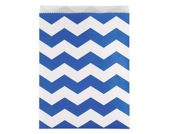Royal Blue Chevron Treat Bags - Ahoy It's a Boy - Nautical Wedding - Navy Favor Bag - Baby Shower Favors - First Birthday - Boy Birthday Bag