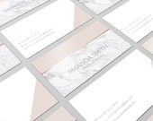 Rose Gold Marble, Business Card, Business Card Design, Modern Business Card, Calling Card, Premade Business Card, Rose Gold Card
