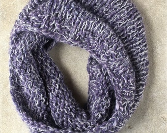 Purple Wool Cowl with Sparkle Yarn