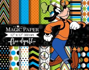 50% OFF SALE Goofy Digital Paper Clipart Scrapbook Instant Download