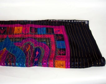 Scarf Women's Multi Colored Silk Rectangle 1980s
