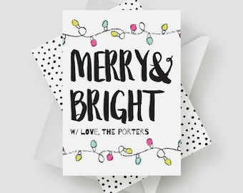 Merry and Bright Holiday Card | Typography, Modern, Photo Card, Printable, DIY, Christmas Card, Holiday Card, Custom Color, Black and White