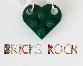 Hunter Green  Heart Necklace - Valentine's Day - Jewelry made with LEGO® pieces
