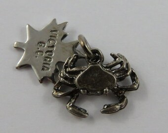 Crab With Victoria B.C. Tag Sterling Silver Vintage Charm For Bracelet