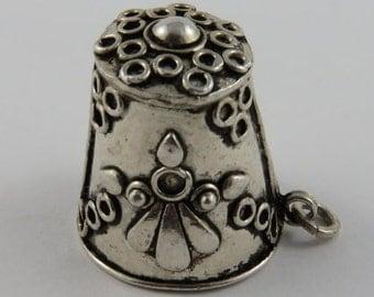 Thimble Sterling Silver Vintage Charm For Bracelet