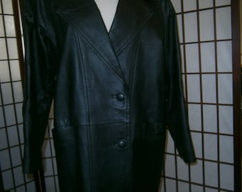 Women's Black Leather Three Quarter Length Jacket