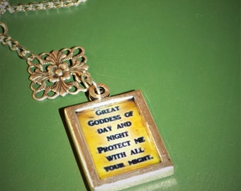 Goddess Protection Quote Picture Frame Necklace - Amulet - Pagan / Wiccan