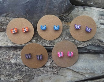 Butterfly earrings, ear studs, post earrings, stud earrings, studs for teenagers, tiny butterfly studs, butterfly jewelry, mothers day gift