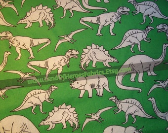 A Very Fun Flannel Fabric Covered with Everyone's Favorite Dinosaurs: T-Rex, Pterodactyls and MORE!  - By the Fat Quarter, Half-Yard or Yard