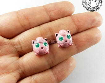 Jigglypuff Inspired Stud Earrings, Surgical Steel Posts
