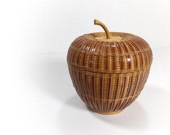 Vintage Retro Wicker Apple Basket with Lid, Woven Apple, Apple Shaped Storage, Lidded Wicker Apple, Hippie Chic Style, Boho Bohemian Style