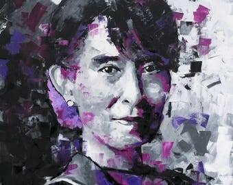 "Aung San Suu Kyi, Original Painting, 30"", 40"", 52"", Art, Activist, Burma, Worldwide Shipping Richard Day"