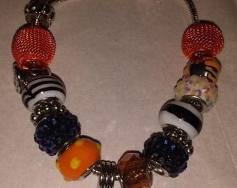 Halloween Charm Bracelet -orange/black/white/blue/silver