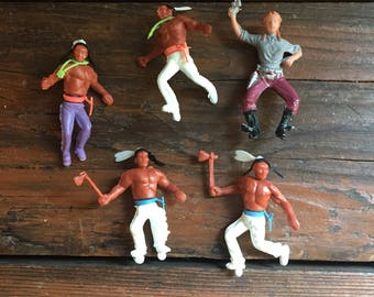 Lot of Four Indians and One Cowgirl / Vintage Miniature Cowboys and Indians Toys / Craft Supply / Cupcake Topper