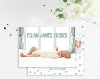 Double Sided Baby Boy Modern Birth Announcement, Simple Boy Birth Announcement, Birth Announcement, Baby Announcement photo card, baby boy