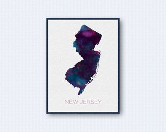 New Jersey Map Watercolor Poster, United States Map Print, Purple Version