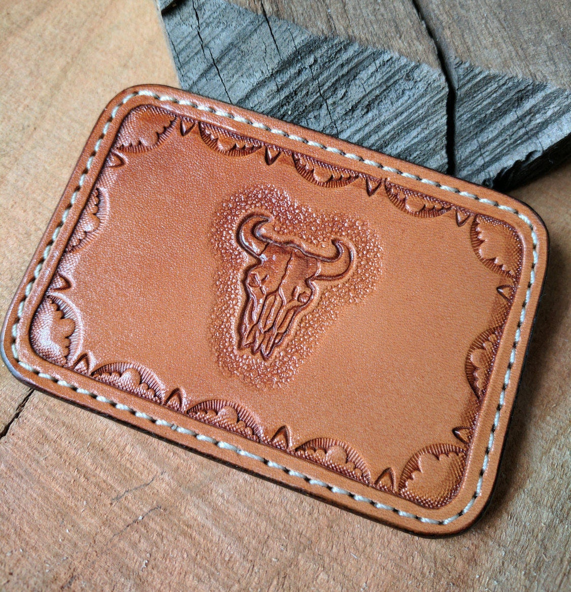 Leather idbusiness card holder with 3 pockets hand tooled and cow leather idbusiness card holder with 3 pockets hand tooled and cow skull stamped magicingreecefo Choice Image