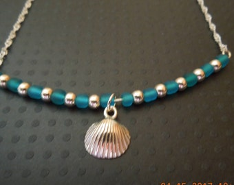 Sterling silver Sea shell Sea glass Bar Necklace Hand made