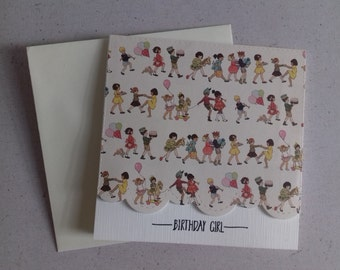 5 x 5 inch square Belle and Boo Print Birthday Card for a Girl with Ivory Envelope, Blank Inside