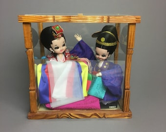 Collector Traditional Korean Bride and Groom Wedding Doll in Glass Display Case