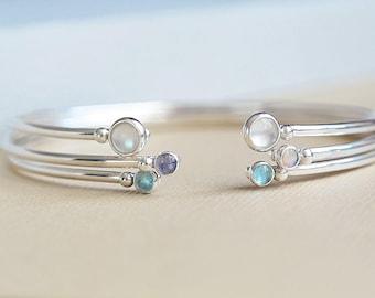 Silver Bangle, Blue Topaz Bangle, Birthstone Bangle, Blue Topaz Bracelet, Birthstone Bracelet, December Birthstone, Open Cuff Bracelet