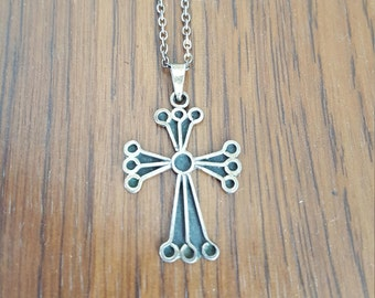 Sterling silver cross with sterling silver chain