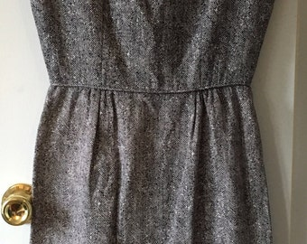 Women's 50s 60s Sheath Wiggle Dress Black and White Herringbone, Small 60s dress sleeveless by Jo White