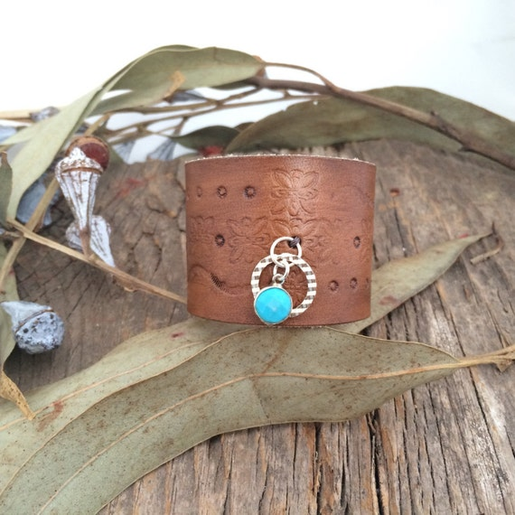 Leather with silver and turquoise bracelet