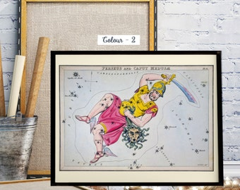 Vintage World Map, Night Sky Stars, Sidney Hall Constellation Cards, Celestial Chart : Constellations Perseus and Caput Medusae