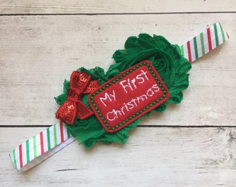First/1st Christmas Baby Headband, Baby Girl Headbands, Headbands for Christmas, Baby Headbands, Newborn Christmas Headbands,
