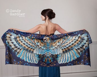 Owl Scarf, Barn Owl, Owl shawl, prom shawl, sarong, wing scarf, prom scarf, midnight Owl, Winged scarf, bird wings, winged shawl, Owl shawl,