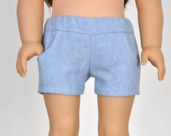 Shorts 18 inch doll clothes Washed  Light Blue