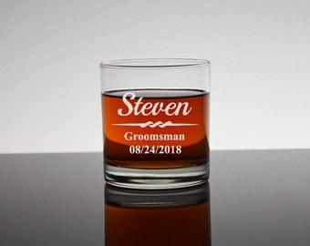 8 Personalized Rocks Glasses, Set of 8, Gifts for Groomsmen, Bourbon Glass, Whiskey Glass, Personalized Groomsmen Glass, Bachelor, RG01