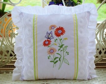 Cushion cover with flowers embroidery