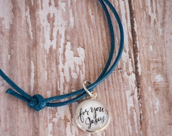 For You Jesus Blue Cord Bracelet, Blessed Chiara Bandano Quote Bracelet, First Communion Gifts for Girls, 602009
