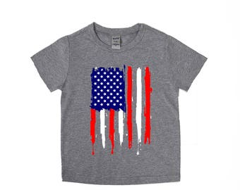 American Flag Shirt - Grunge Flag - Fourth of July Shirts - Independence Day Tees - Unisex Kids Shirt - Memorial Day Shirts - Holiday Shirts