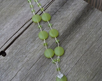 Sea Glass, Crystal and Silver Leaf Necklace in Apple Green