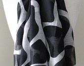 Black and white Infinity Scarf, Black cotton scarf, Black voile scarf, Long and light weight scarf for spring, summer and fall