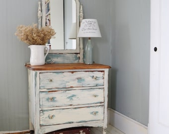 Antique Dresser , 3 drawers , Distressed Turquoise and White