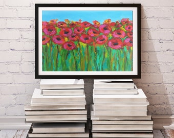 Poppy Flower painting, Acrylic on paper, Abstract Floral art, Poppies Flowers, California Flowers Modern wall art, Home decor 11 x 14